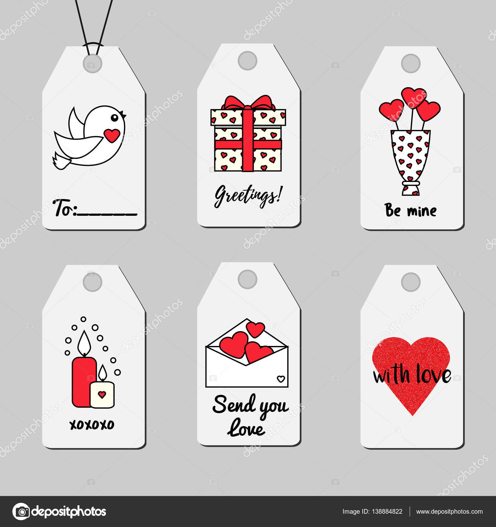 Gmail love theme - Shopping And Sale Printable Tags Vector Collection Romantic Love Theme Hearts Candles Gift Box And Other Symbols Vector By Bonnyheize Gmail Com