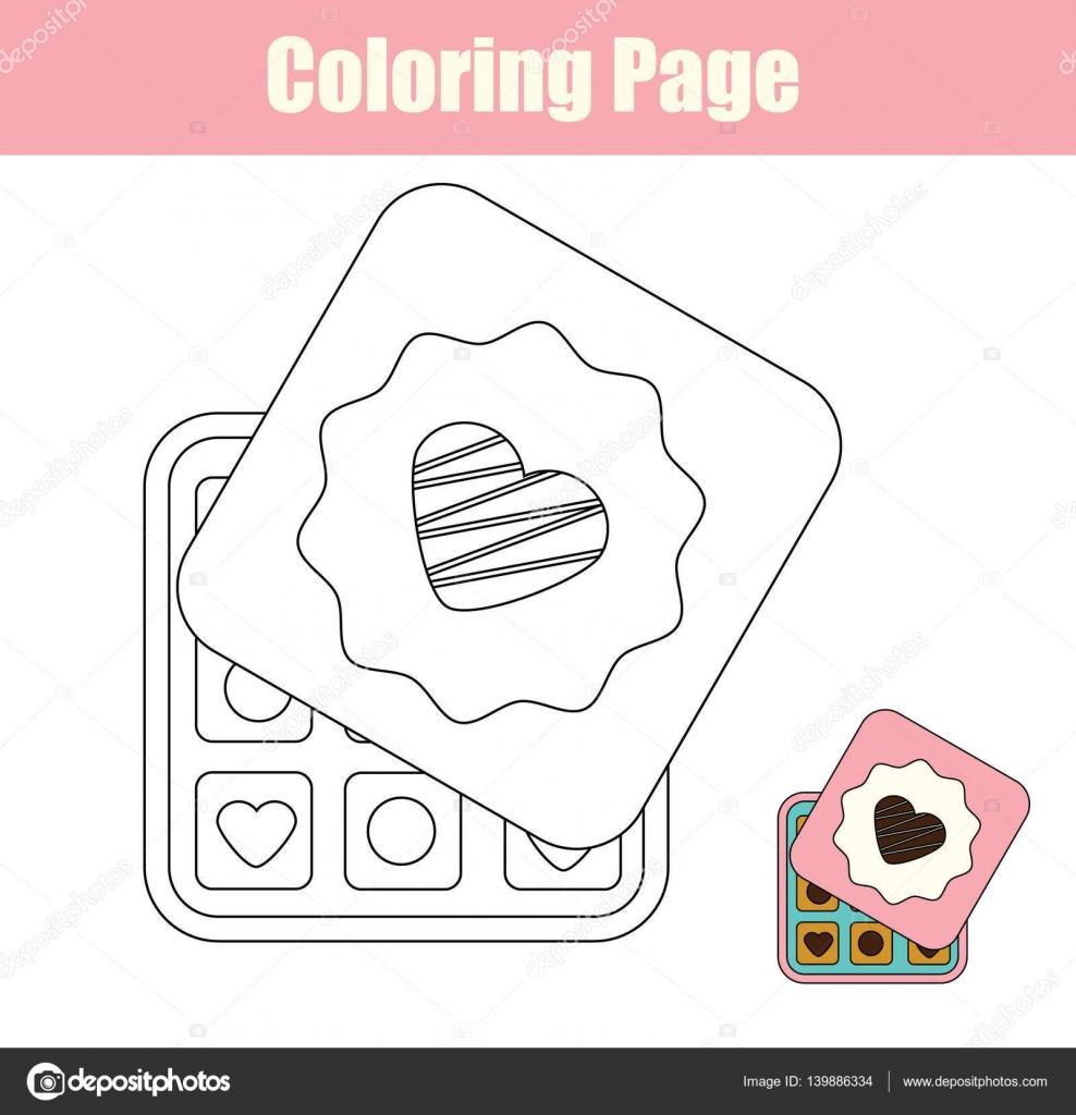 página para colorir com caixa de doces de chocolate vetor de stock