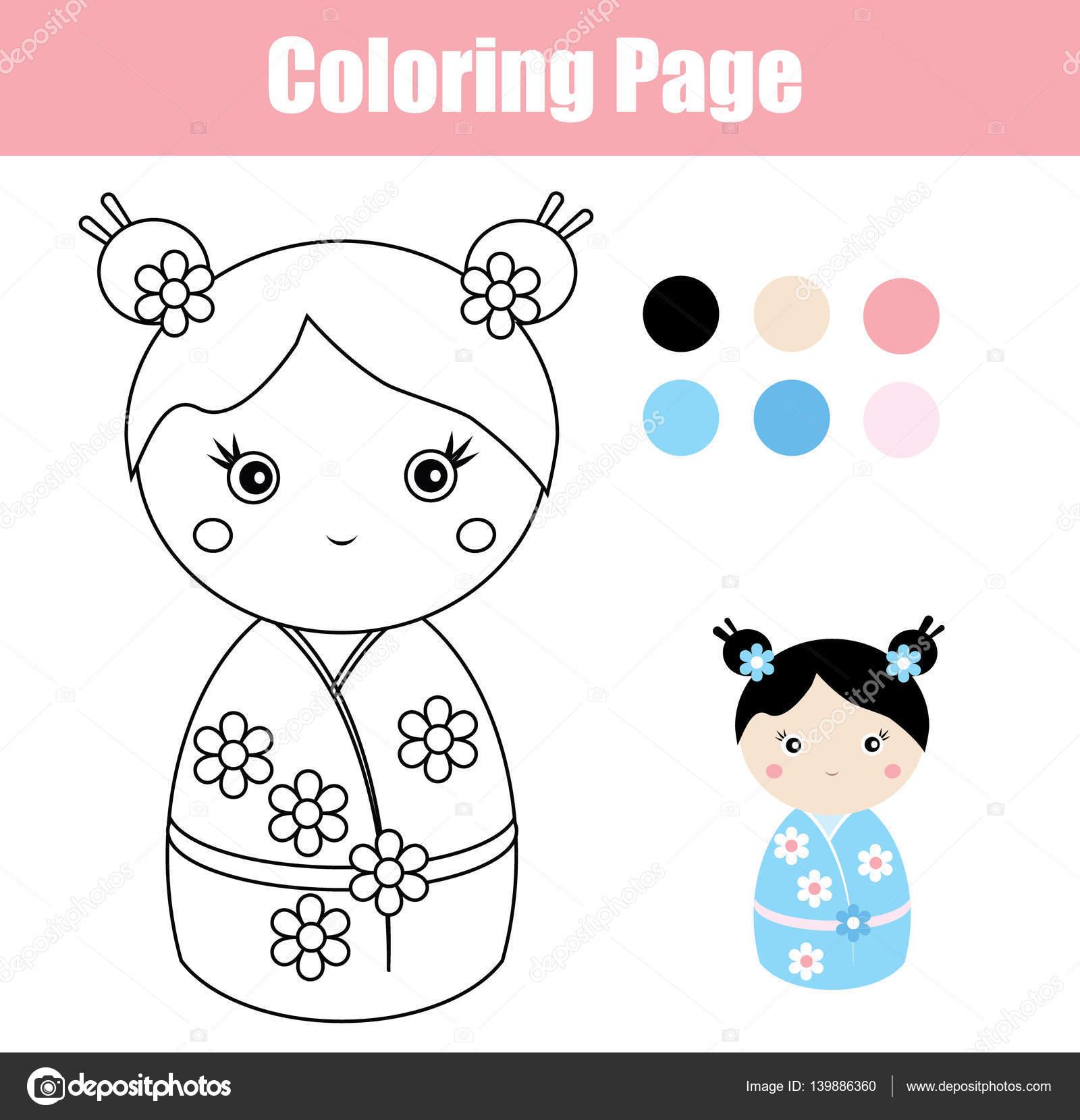 Sevimli Japon Kokeshi Bebek Ile Boyama Sayfası çocuk Eğitim