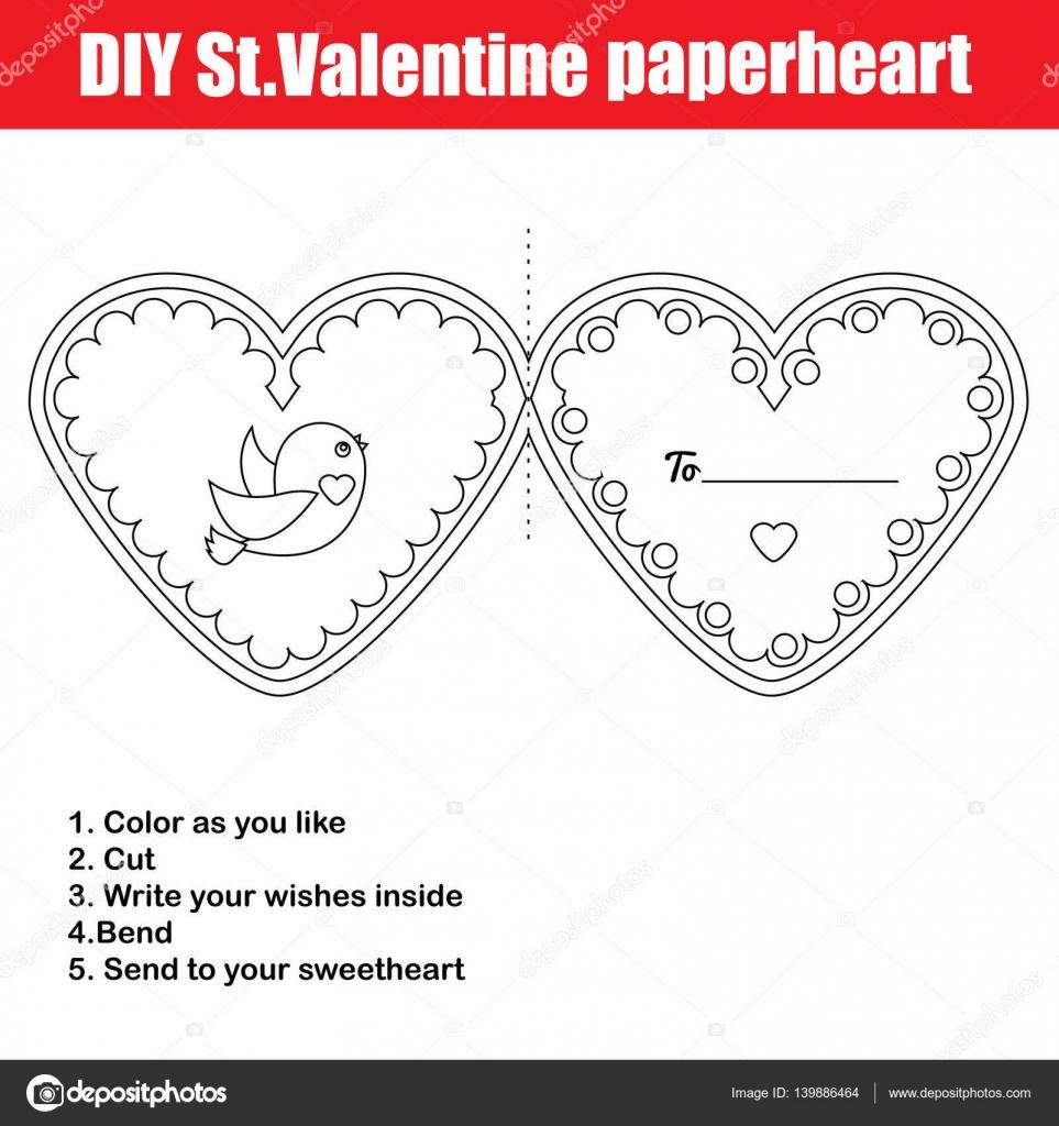 DIY-Kinder kreative Lernspiel. Machen Sie ein Valentine-Tageskarte ...
