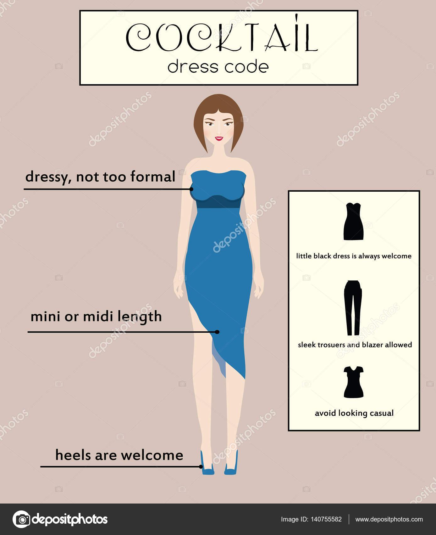 012d92a10 Infografía de vestimenta de mujer. Cóctel. Mujer en vestido midi azul  elegante — Archivo