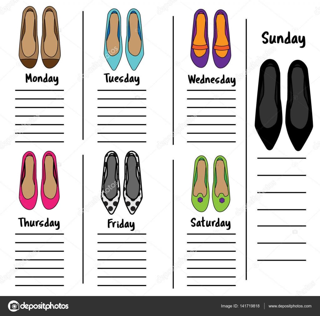 Frau wöchentlich, täglich Planer Vorlage mit modischen Schuhen ...