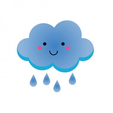 Cute kawaii rainy clowd character. Vector illustration for kids, isolated design element