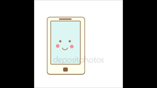 Cute kawaii smartphone character winking with speech bubble and heart symbol inside. Animation