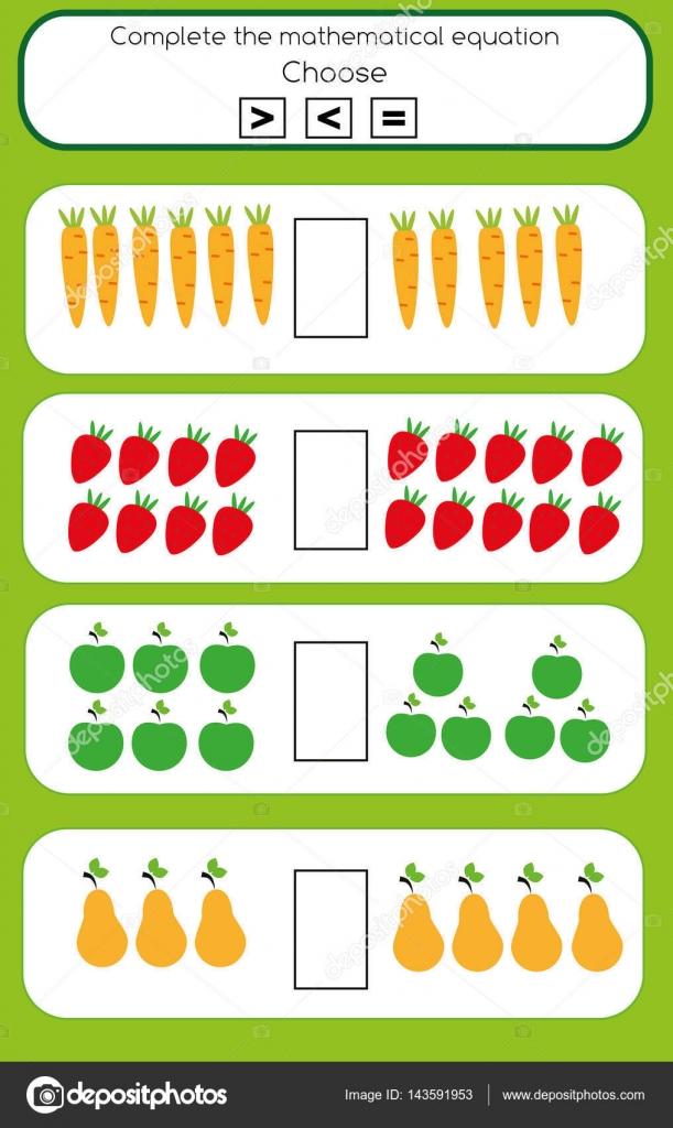 Mathe Lernspiel für Kinder. Mehr oder weniger mathematische ...