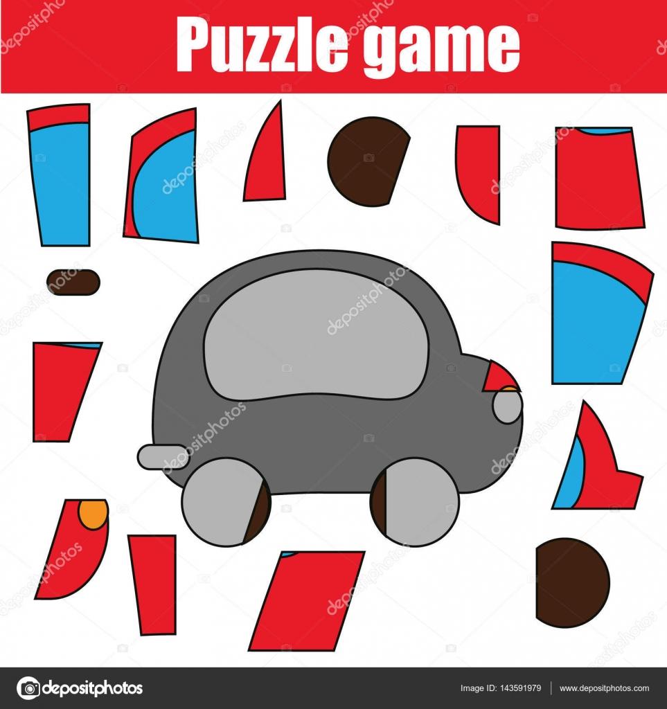 Juego con rojo coche de rompecabezas. Hoja de actividades de niños ...
