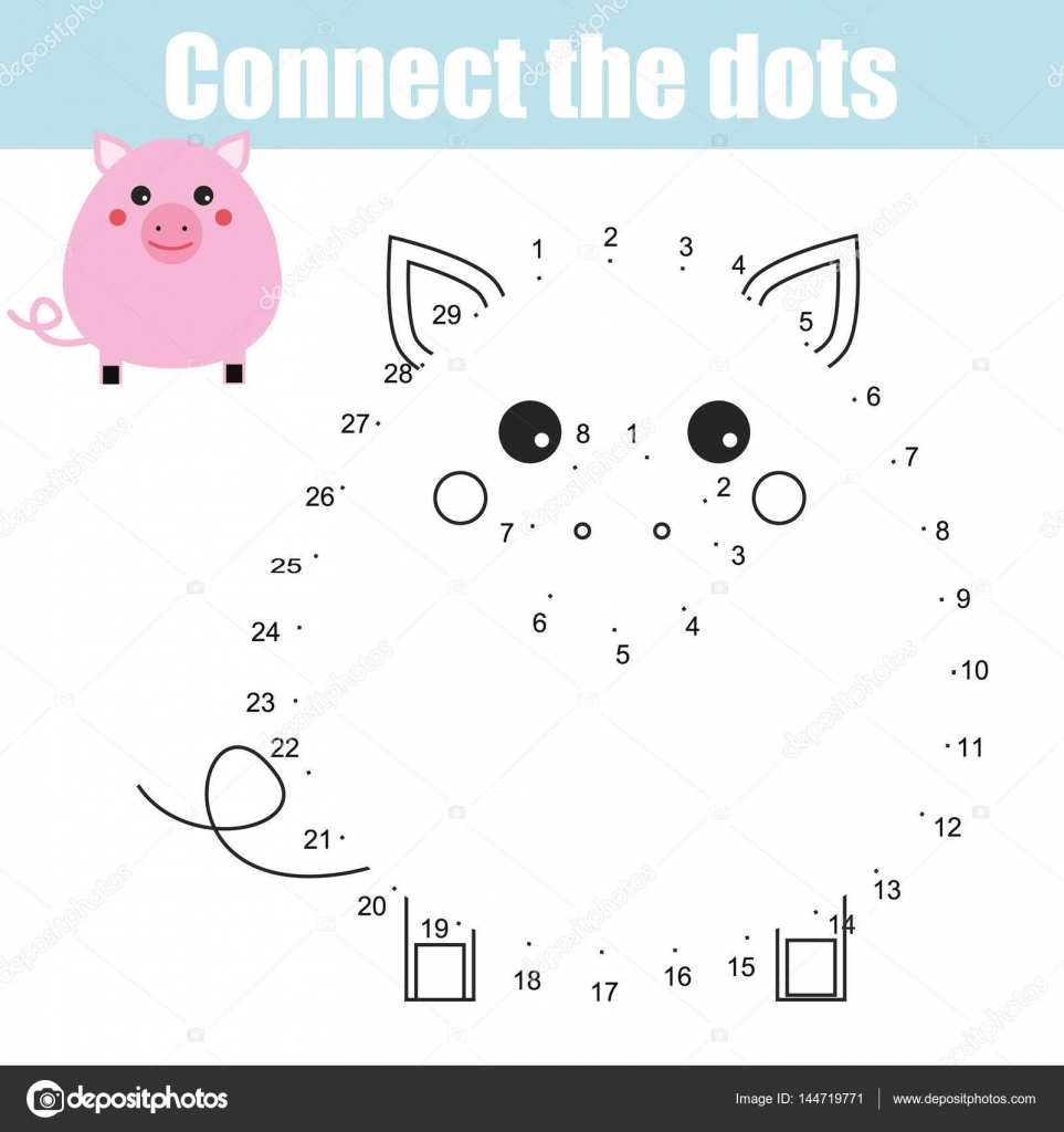 Connect the dots numbers children educational game. Printable ...