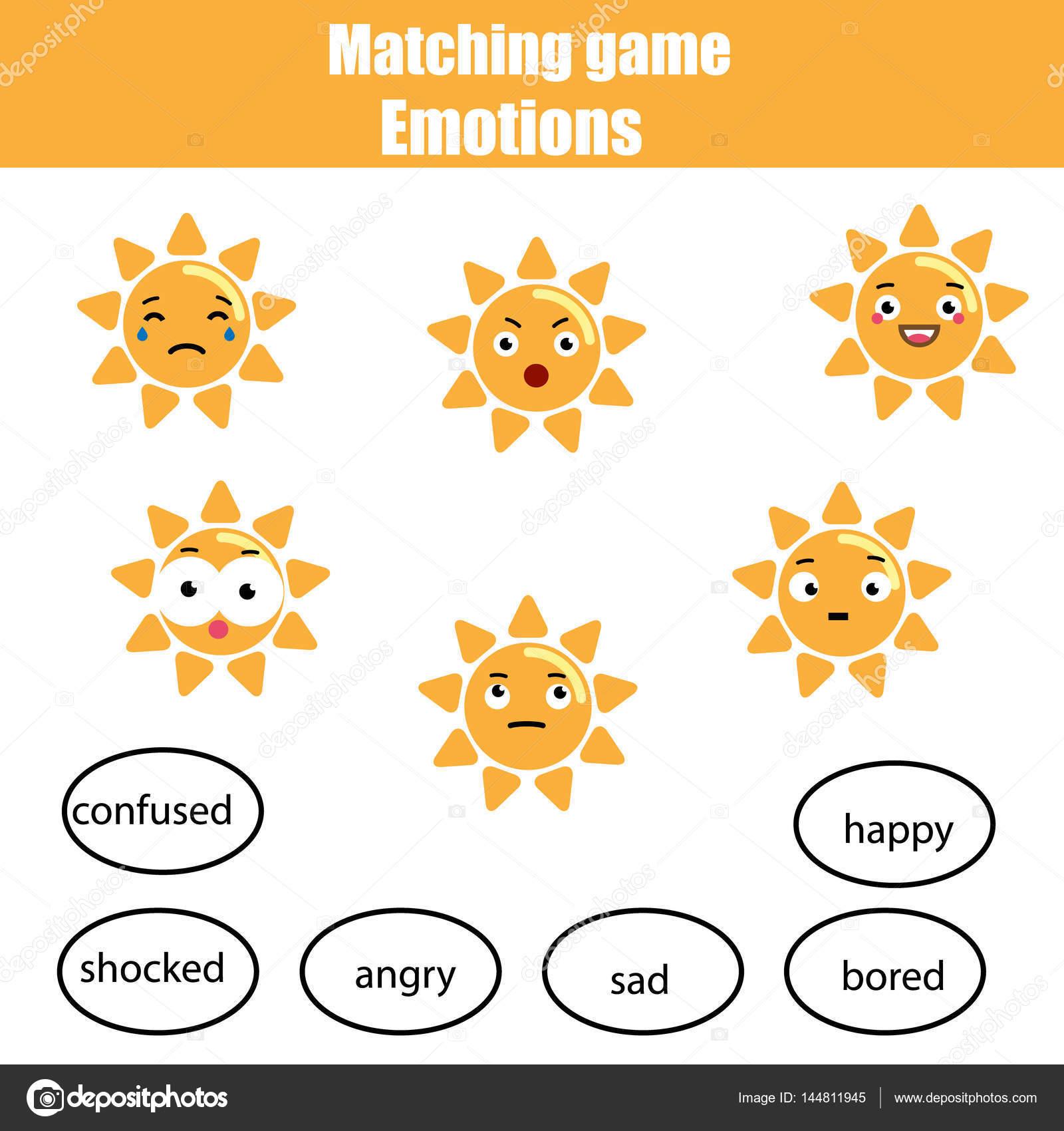 Passende Kinder Lernspiel, Spiel Sonne und Stimmung. Lernen ...