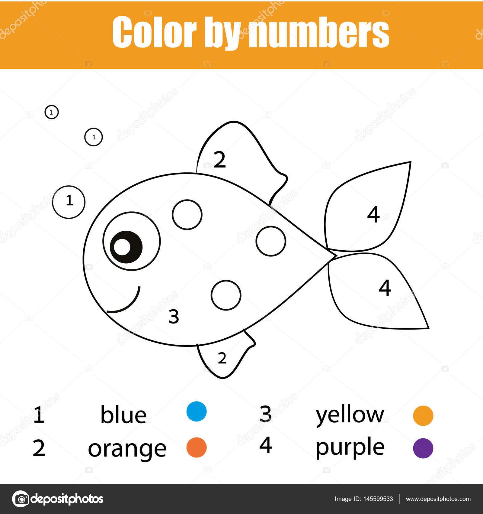Pagina da colorare con carattere di pesce colore dal - Colore per numeri per i bambini ...