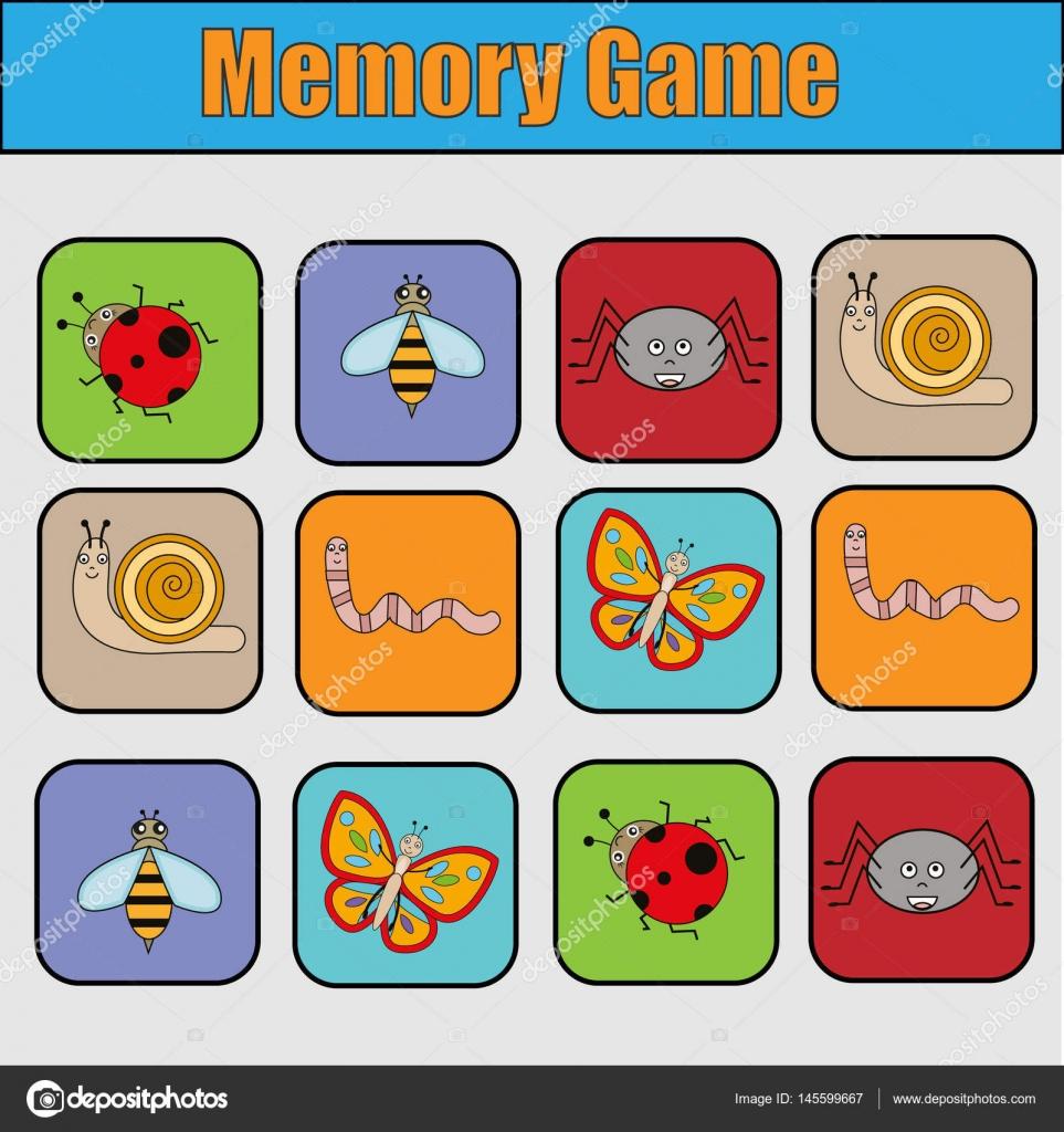 Pädagogische Kinder Spiel, Kinder-Aktivität. Memory-Spiel mit ...