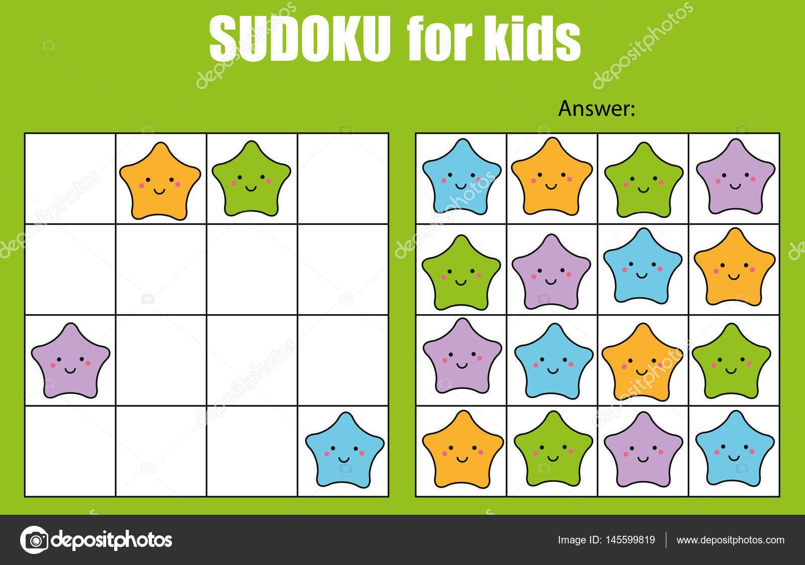 Sudoku-Spiel für Kinder. Kinder Aktivität Blatt mit niedlichen ...