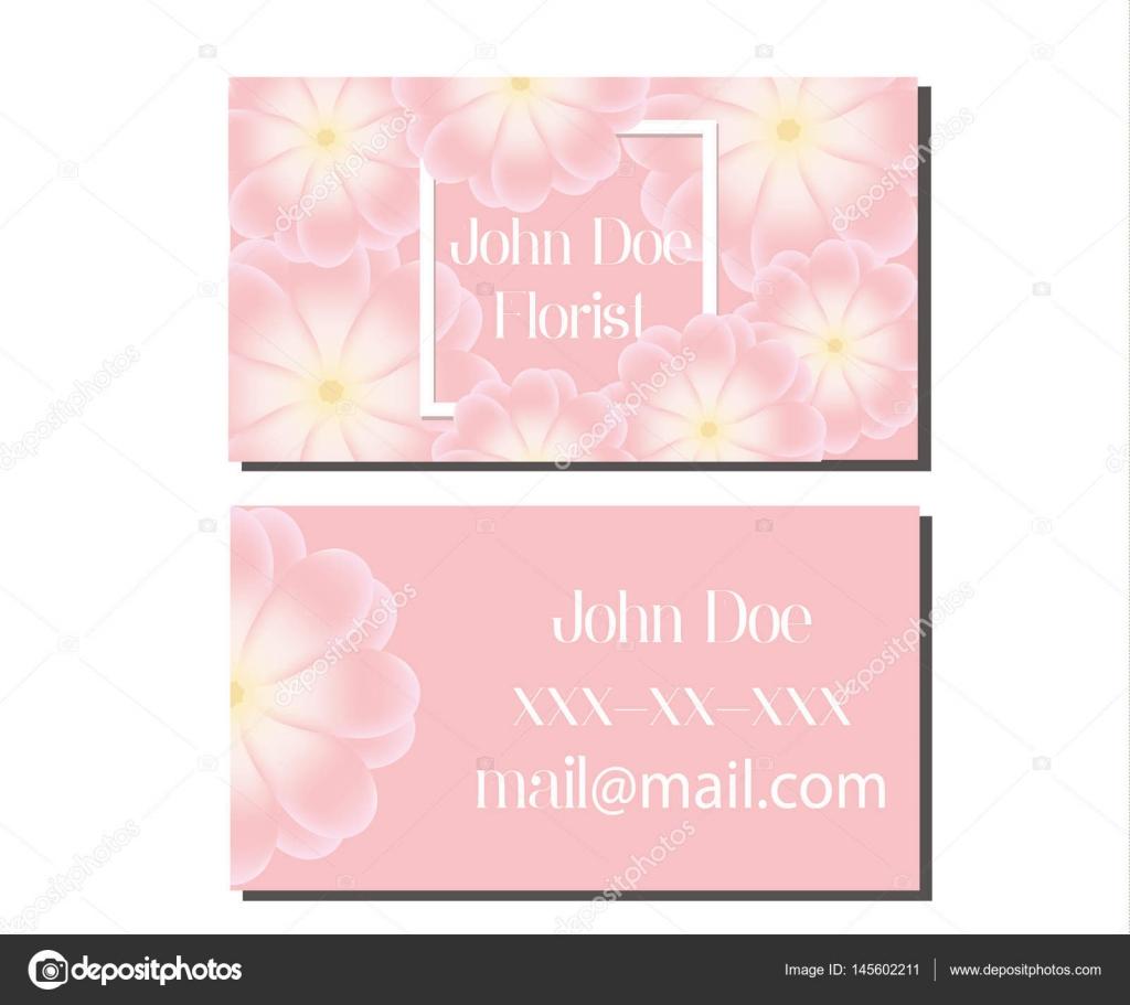 Modle De Conception Carte Visite Avec Des Fleurs Roses Tendres Dpliant Vecteur Pour Fleuriste Mariage Vnementiel Magasins Et