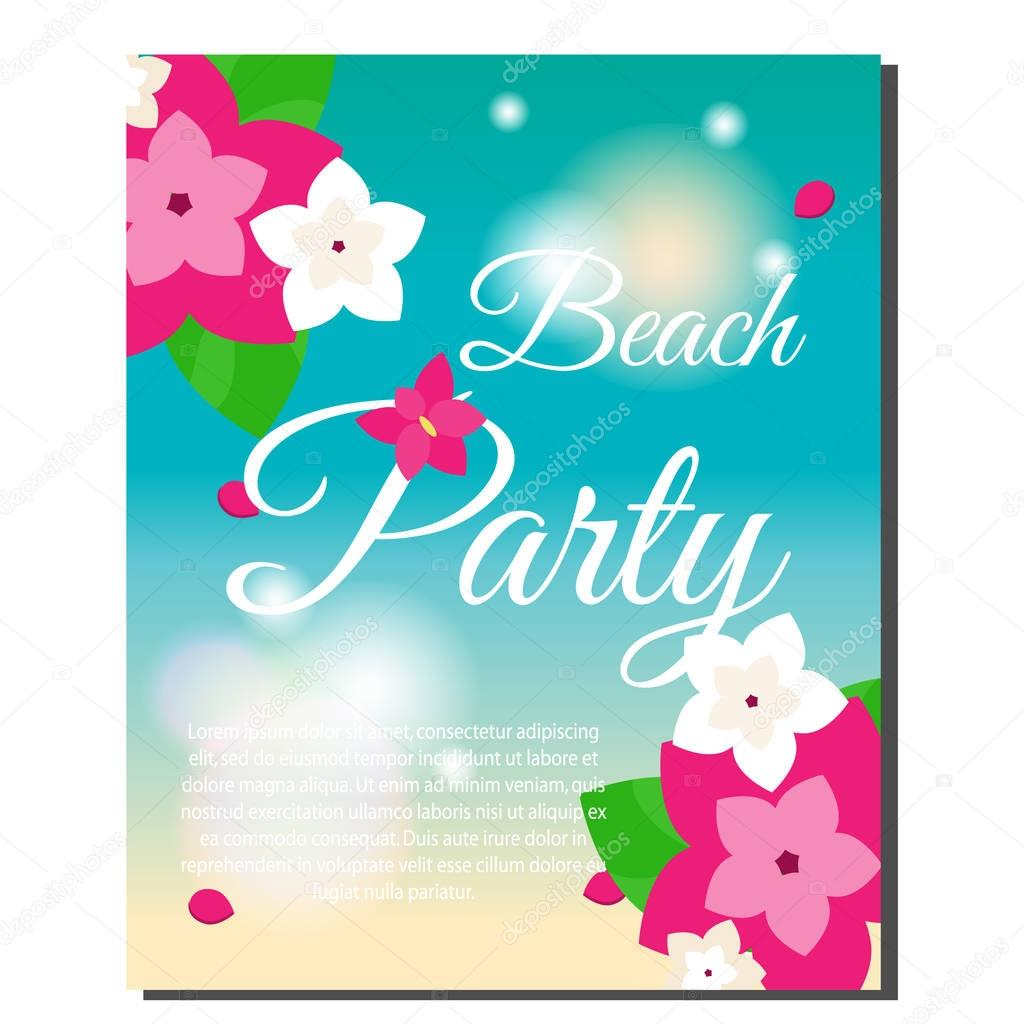 Vertical tropical banner with exotic orchid flowers. Vector illustration. Design template for summer party invitation, spa salons, luxury resort advertising, gift voucher