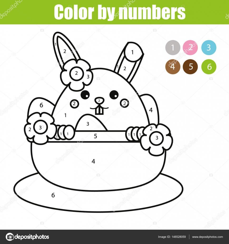 Paskalya Tavşan Karakterle Boyama Sayfası Kids Hareket çizim Sayı