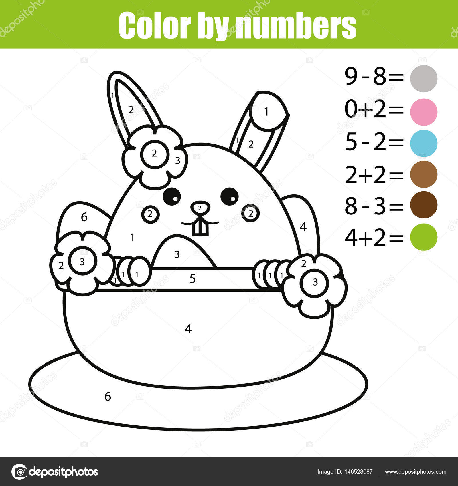 Coloring Page With Easter Bunny Character Color By Numbers Math Educational Children Game Drawing Kids Activity Printable Sheet Rabbit In Busket