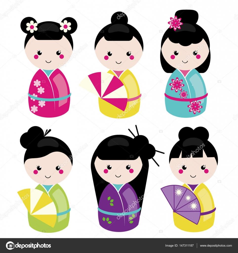 Juego De Cute Kawaii Kokeshi Munecas Tradicionales Japonesas
