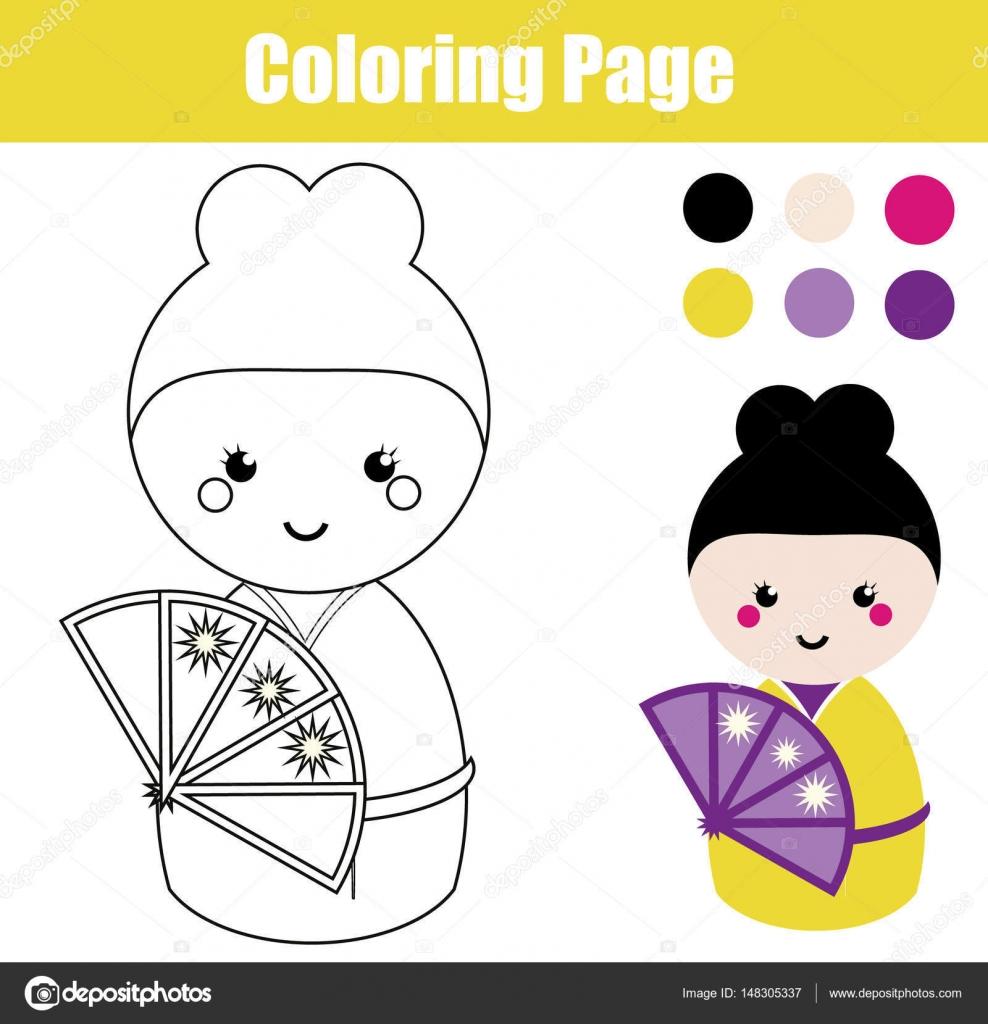Malvorlagen mit niedlichen japanischen Kokeshi Puppe. Lernspiel für ...