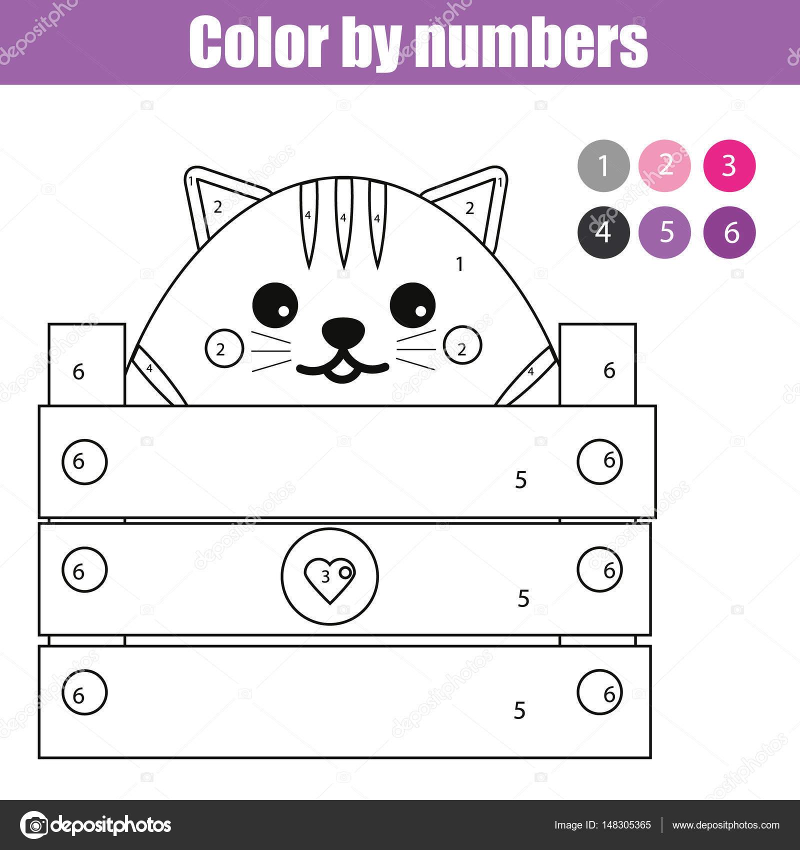 Página para colorear con el carácter de Gato lindo. Juego de niños ...