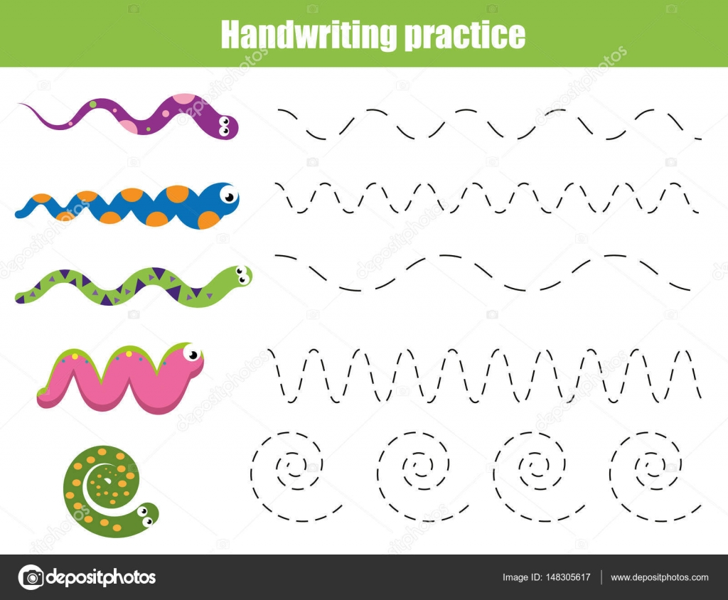Handschrift-Praxis-Blatt. Pädagogische Kinder Spiel, druckbare ...