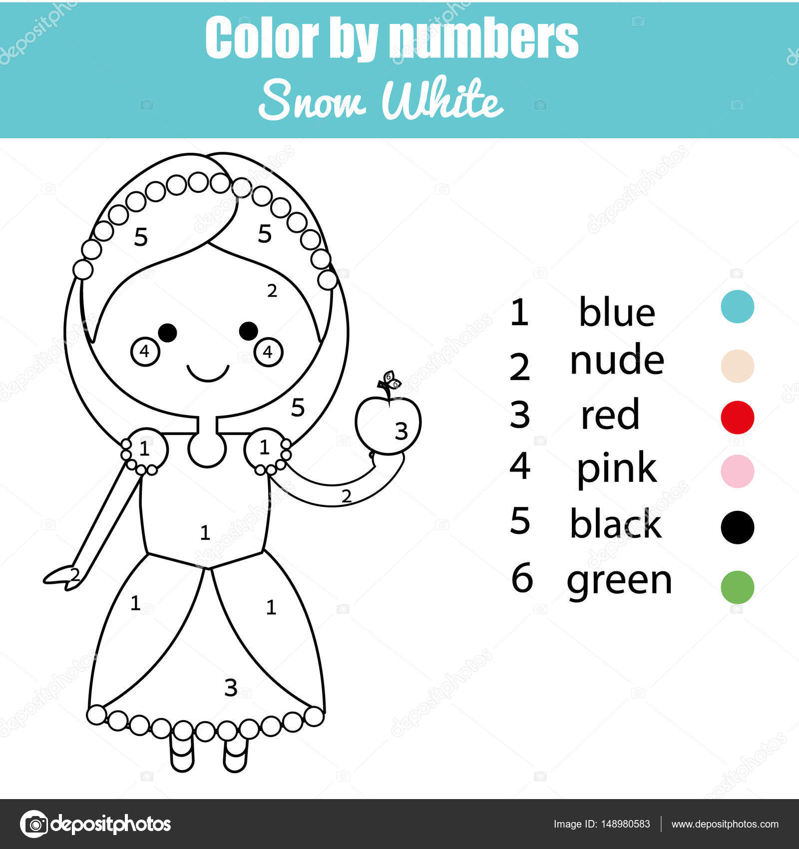 Coloring Page With Cute Snow White Fairy Tale Princess Character Color By Numbers Educational Children Game Drawing Kids Activity Printable Sheet