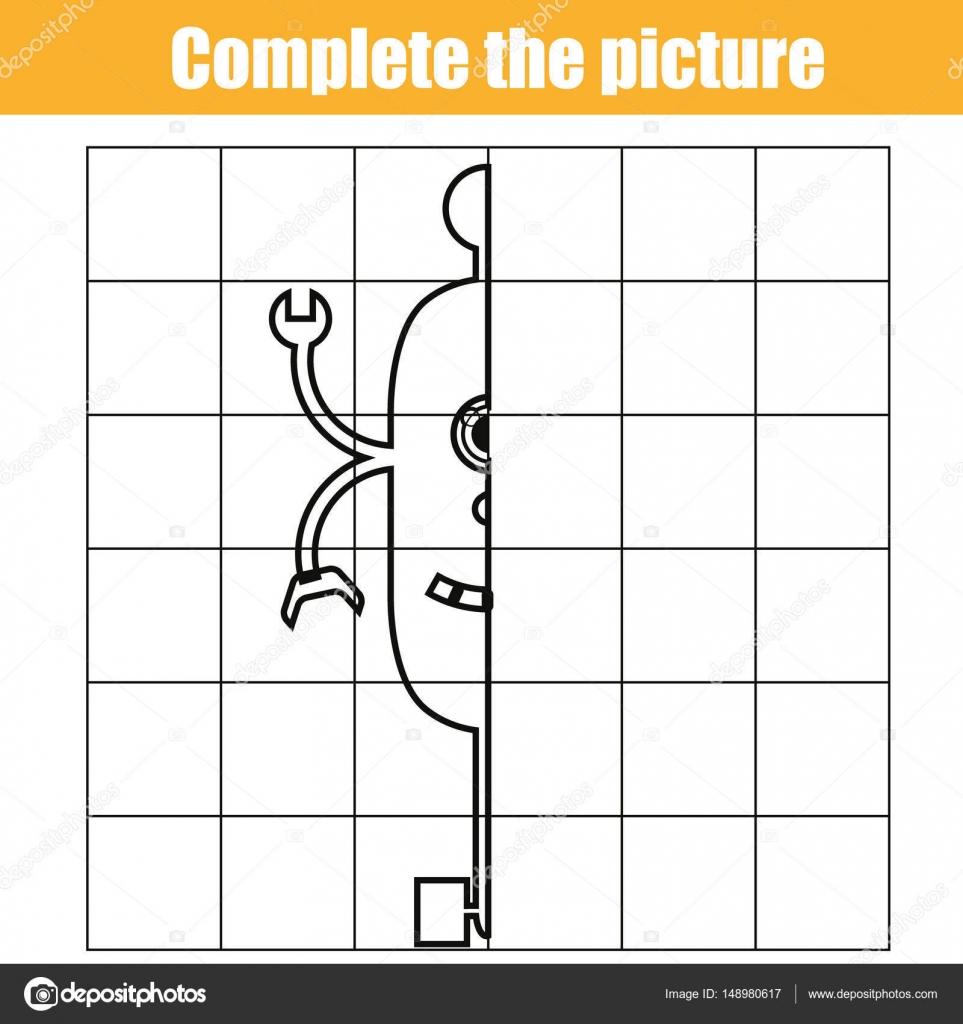 Kopieren von Raster. Vervollständigen Sie das Bild Kinder Lernspiel ...