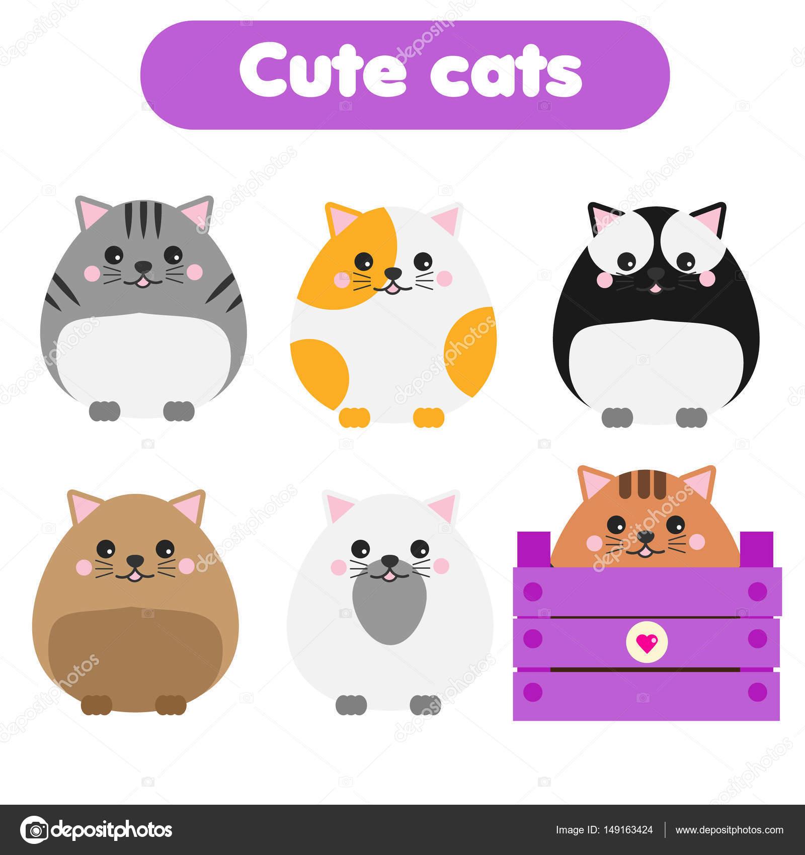Cute Kawaii Katzen Kinder Stil Cartoon Eingestellt Vektor Illustration Aufkleber Padagogische Illustrationen Isolierte Design Elemente Fur