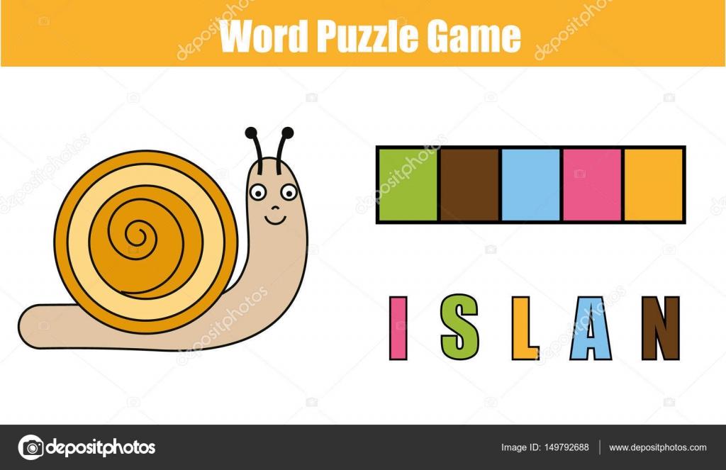 Palabras puzzles niños educativo con código de colores. Coloque las ...