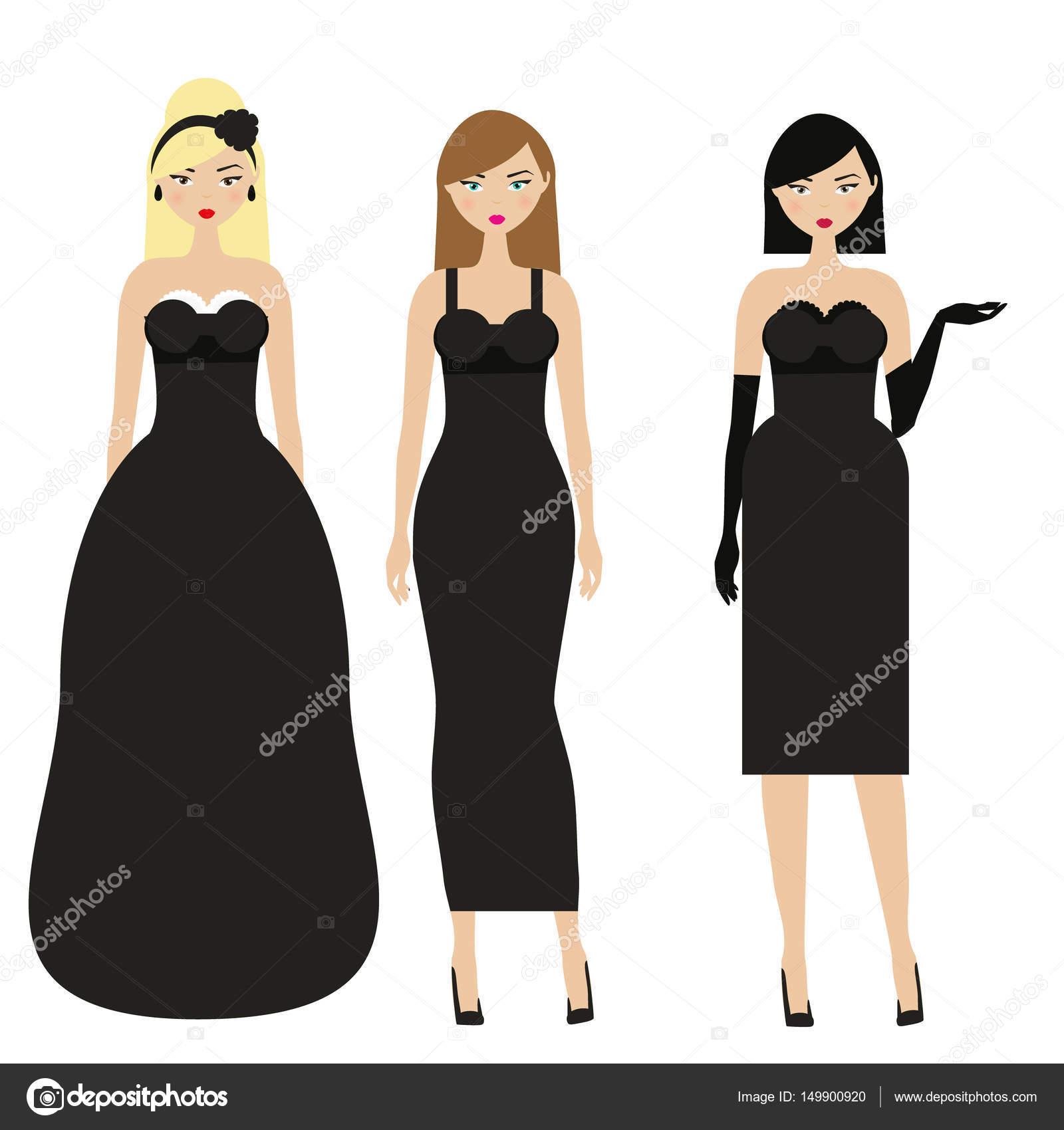 f51fdee8a8c856 Vrouwen in zwarte jurken. Vrouwelijke nacht