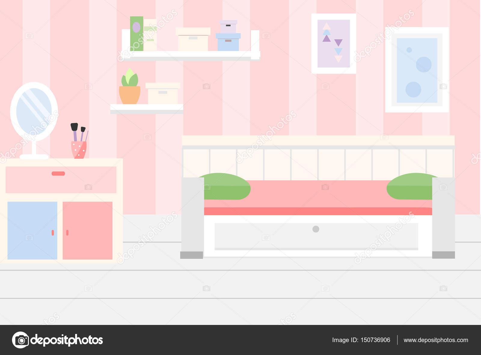 Interior de la habitaci n apartamento en colores rosados for Espejos para habitacion nina
