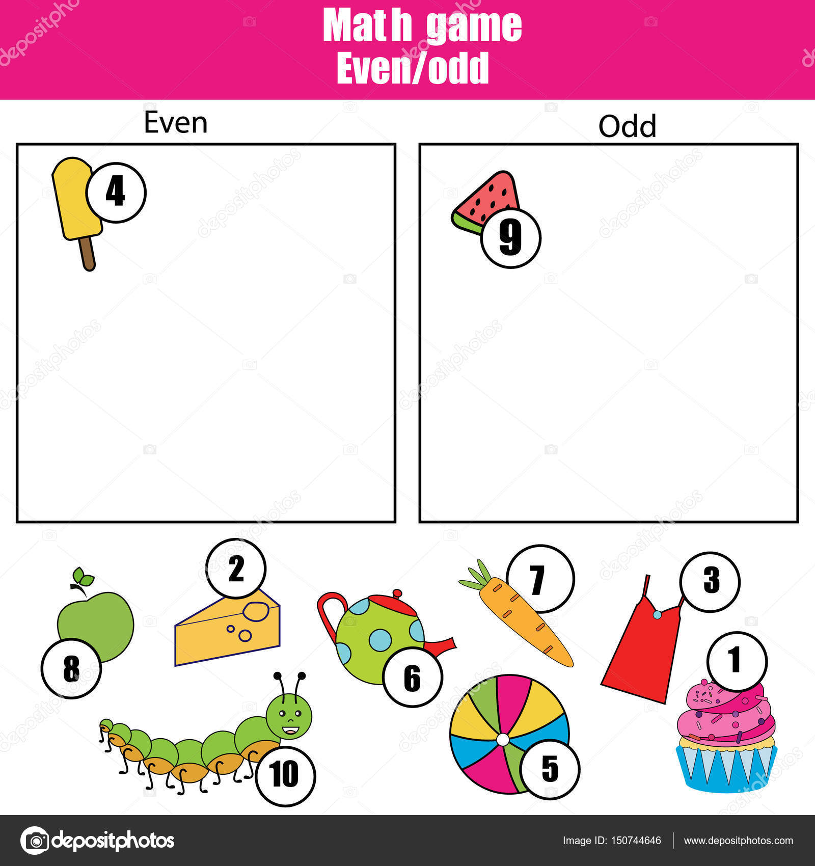Mathe Lernspiel für Kinder. Gerade und ungerade Zahlen lernen ...