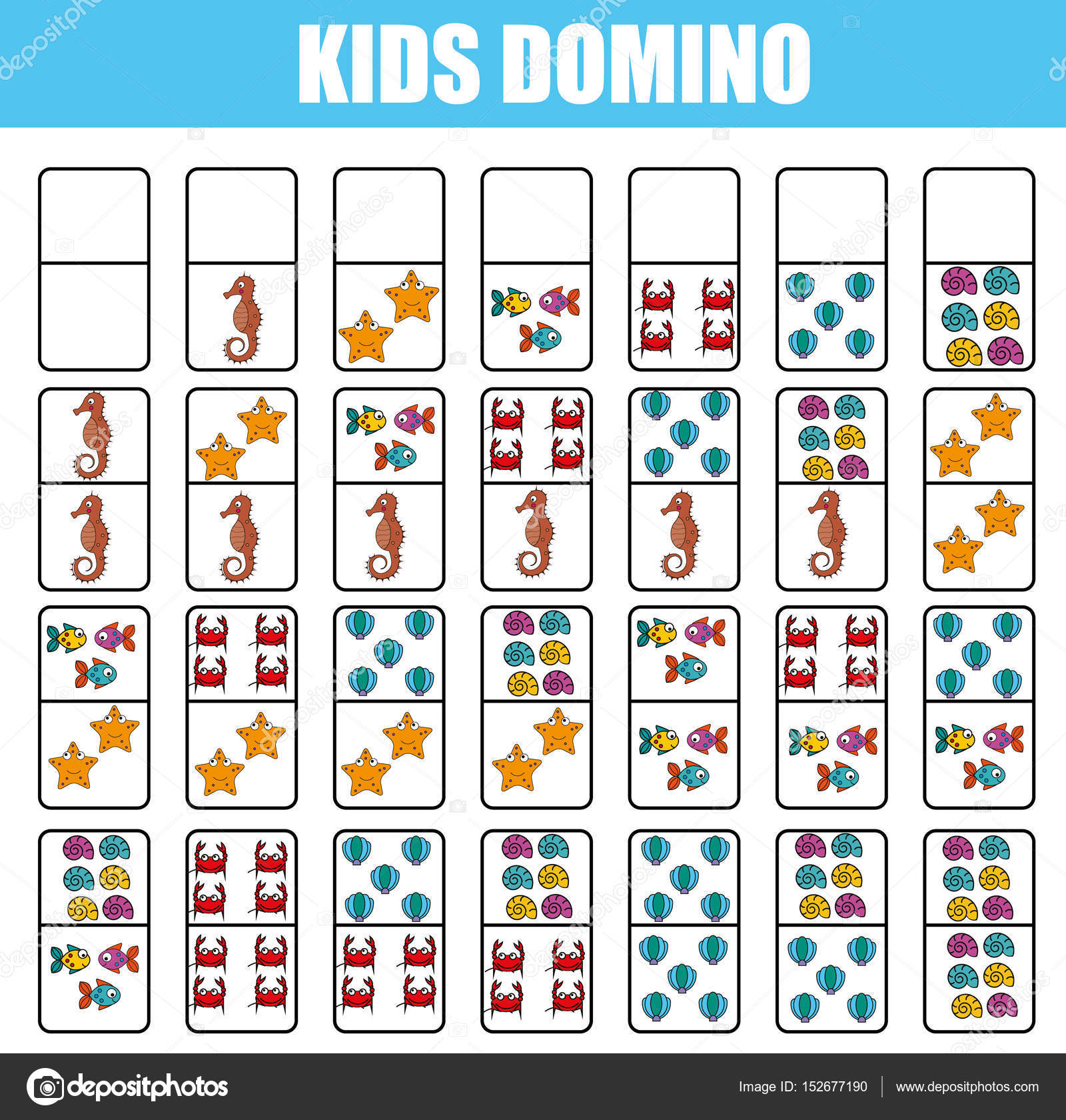 Domino for kids Children educational game Printable activity