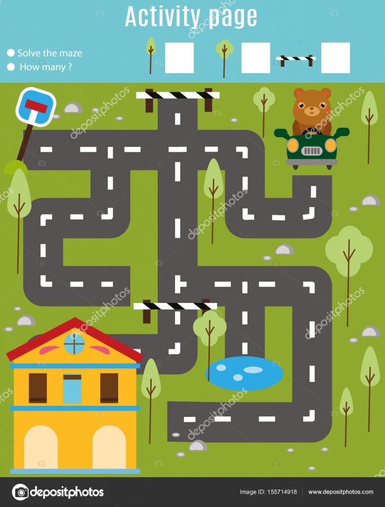 Activity page for kids. Educational game. Maze and find objects ...