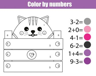 Coloring page with cute cat character. Color by numbers educational children game, drawing kids activity, printable sheet. Math game. Learning mathematics, algebra, addittion and subtraction clip art vector
