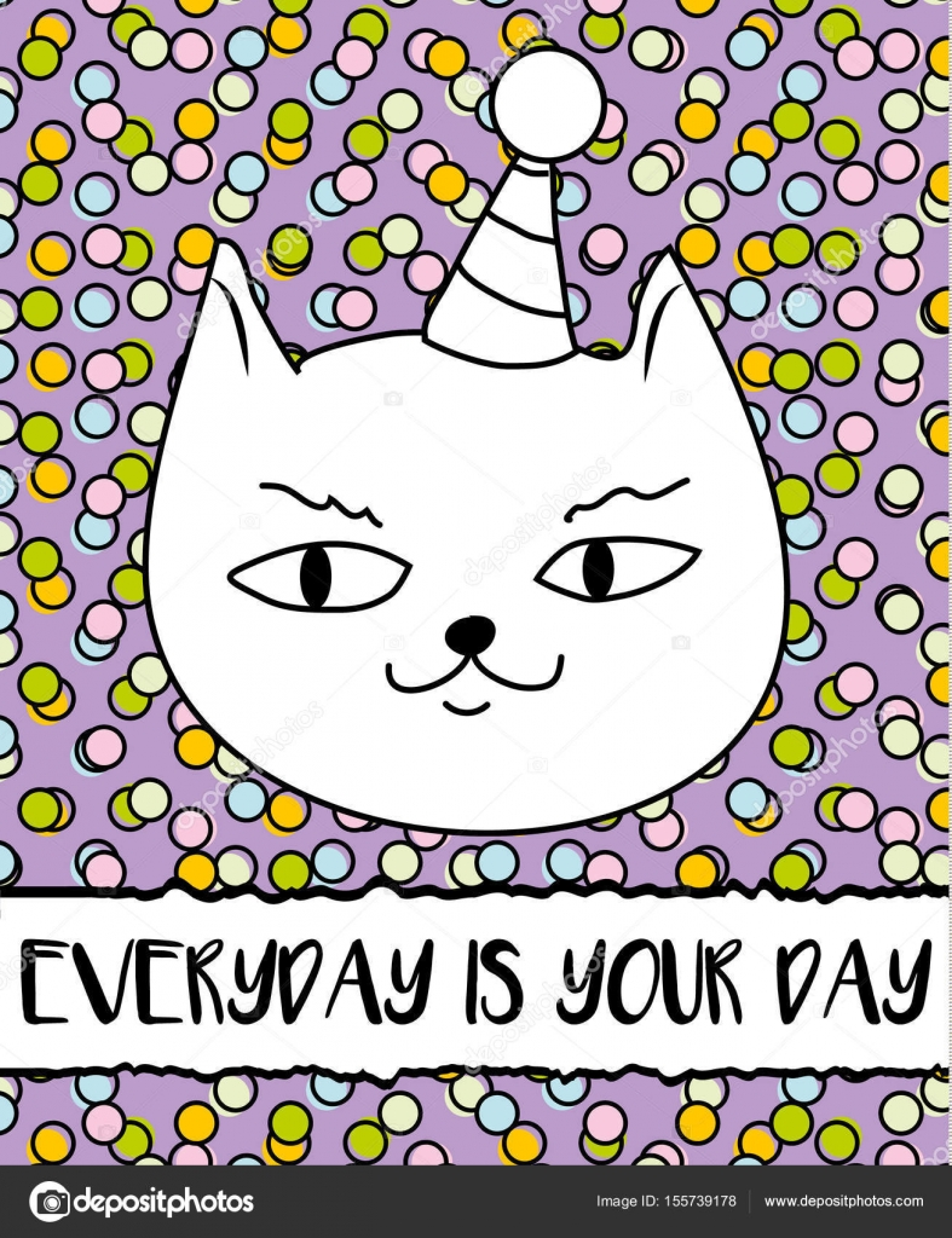 doodle cat in birthday hat modern postcard flyer design template
