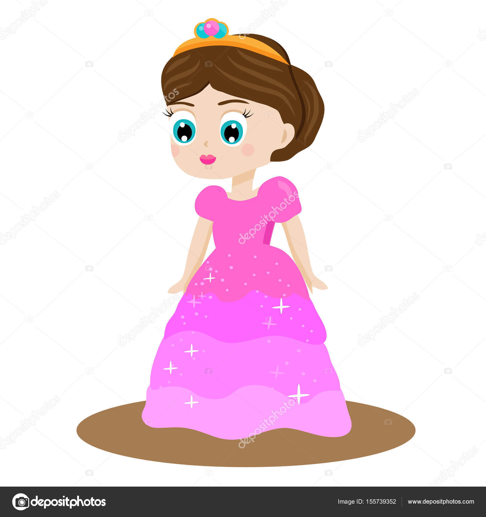 Princesa de cuento de hadas lindo kawaii en vestido rosa y corona ...