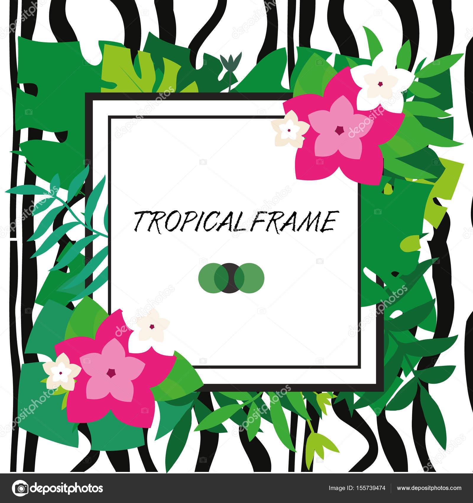Tropic-Banner. Design-Vorlage. Tropischen Rahmen. Exotische Blätter ...