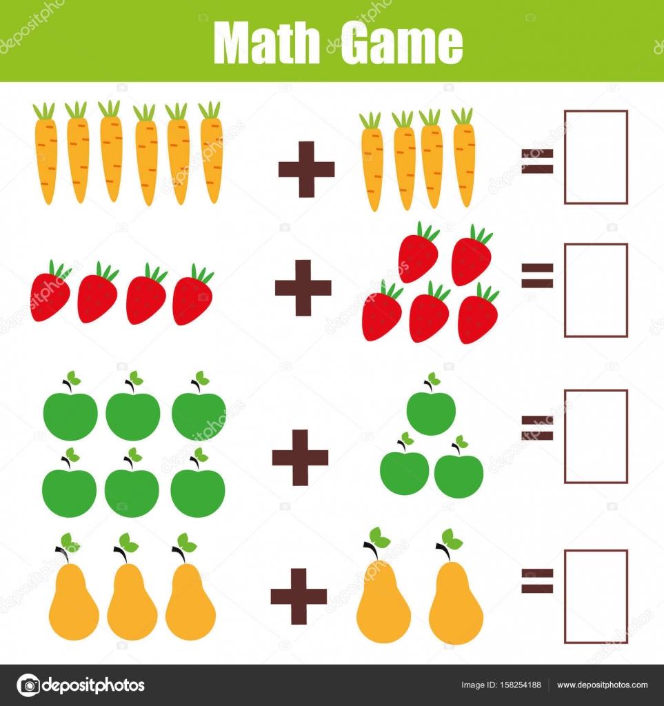 Math educational game for children, addition mathematics worksheet ...