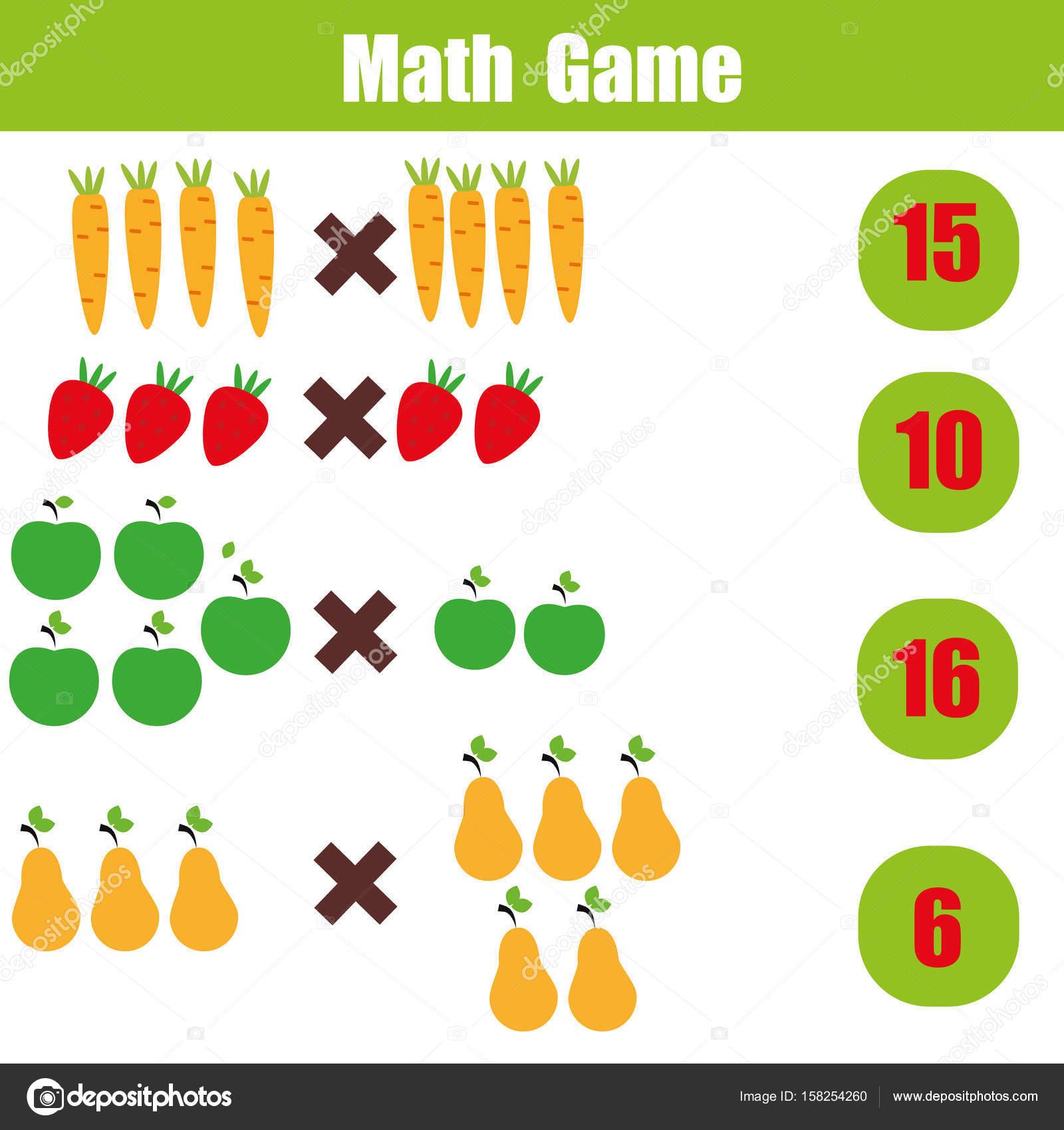 Juego educativo de matemáticas para niños, hoja de cálculo de ...