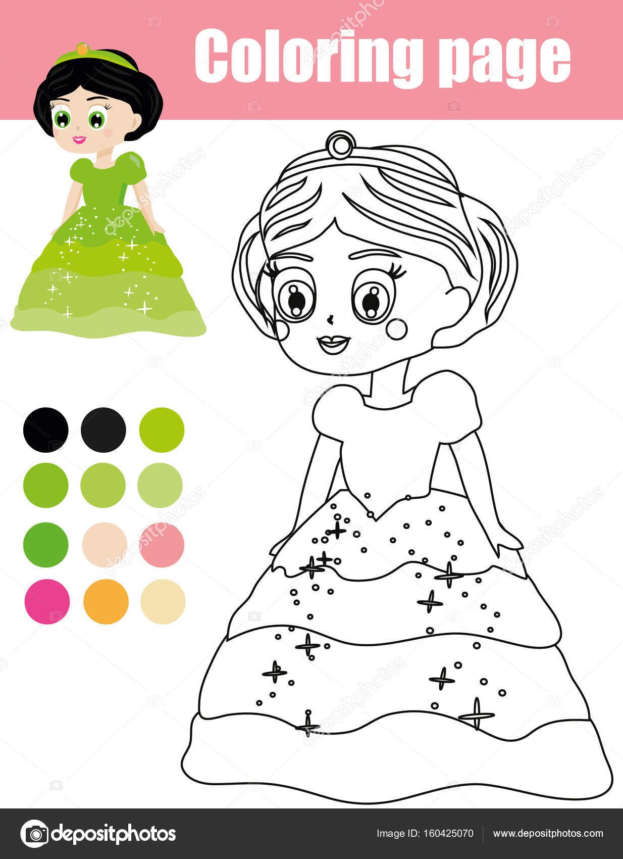 Página para colorear con el personaje de princesa. Juego de niños ...