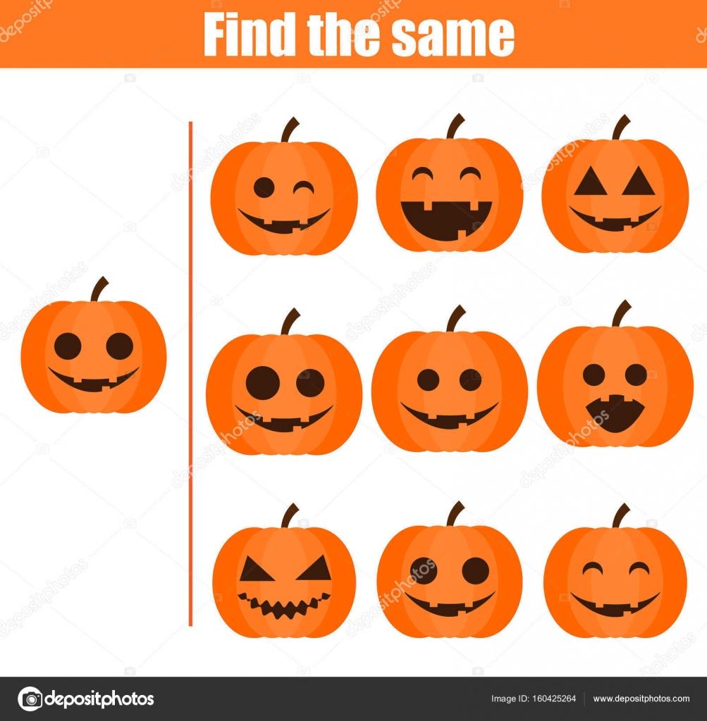 Halloween Thema.Vinden Dezelfde Foto S Educatief Spel Van De Kinderen