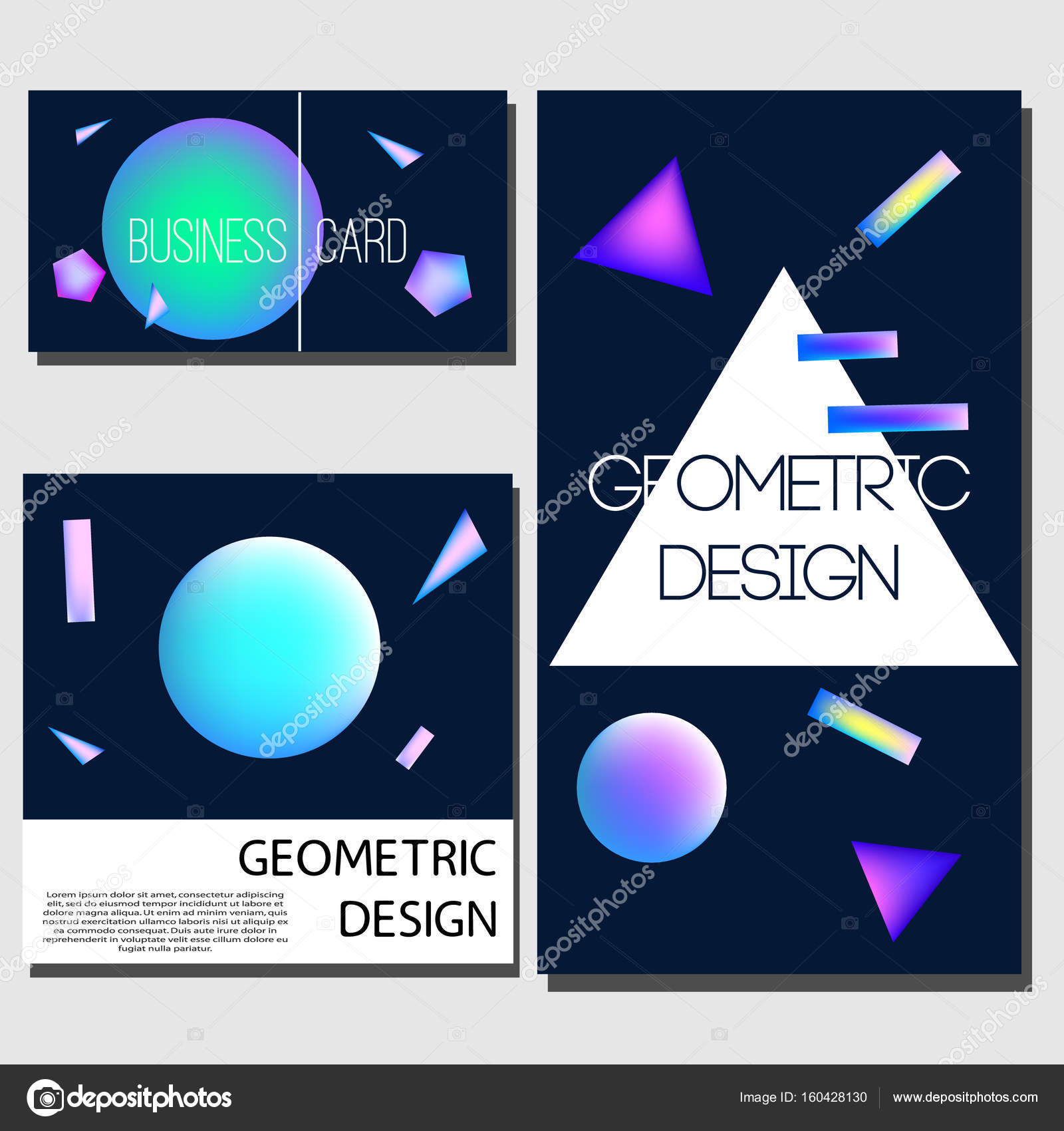 Geometrischen Karten. Design-Vorlagen zu decken. Broschüre, Karten ...