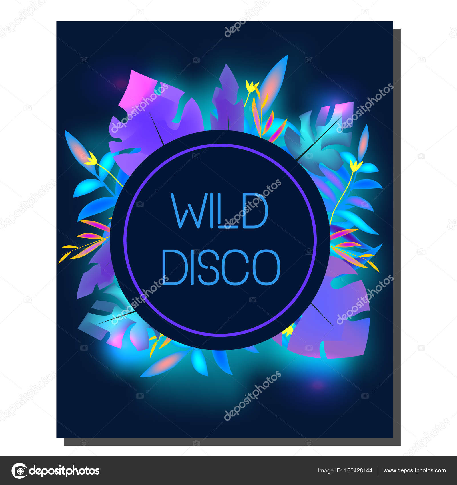 Tropic disco party flyer. Design template. Tropical leaves, blue ...