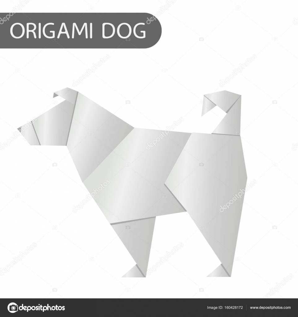 Paper Dog In Origami Style Vector Icon 2018 New Year Symbol Stock Diagram