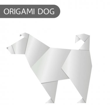 Paper Dog in Origami Style vector icon. 2018 new year symbol