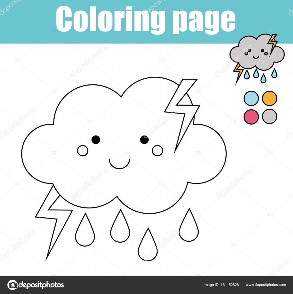 Página para colorear con carácter Linda nube. Juego didáctico, para ...