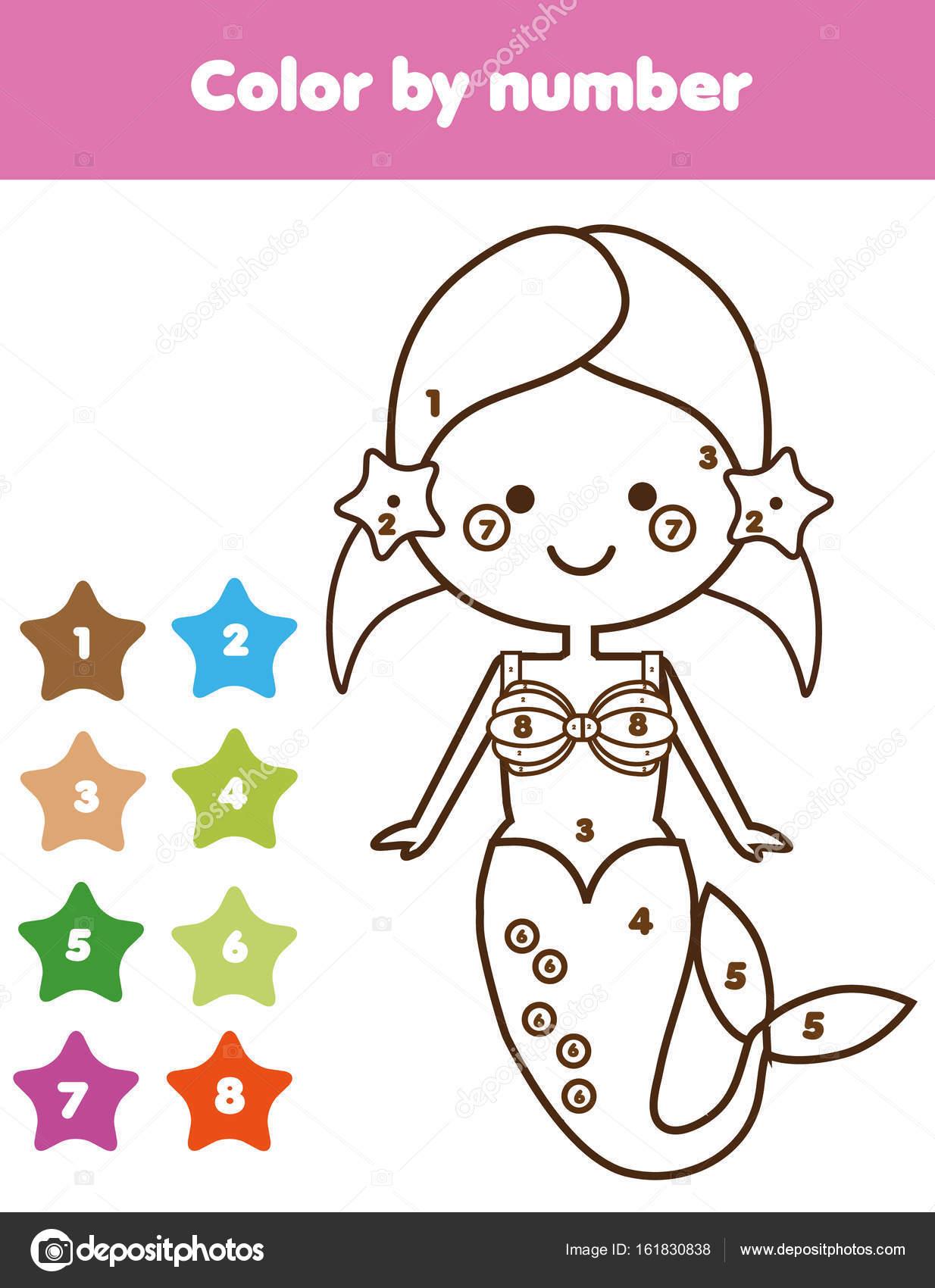 Sirenas para colorear juegos | Juego educativo de los niños. Página ...