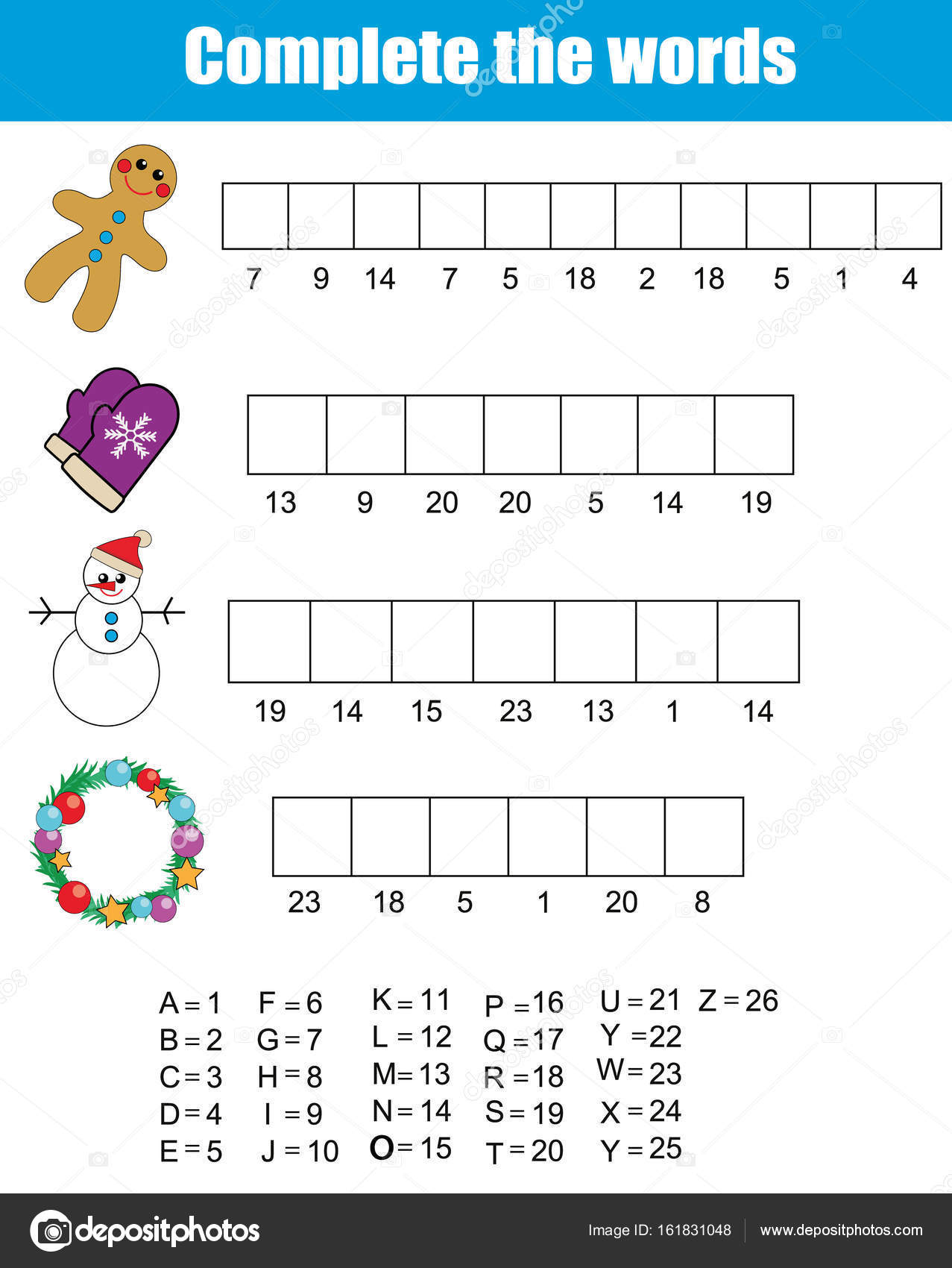 Vervollständigen Sie die Wörter Kinder Lernspiel. Weihnachten ...