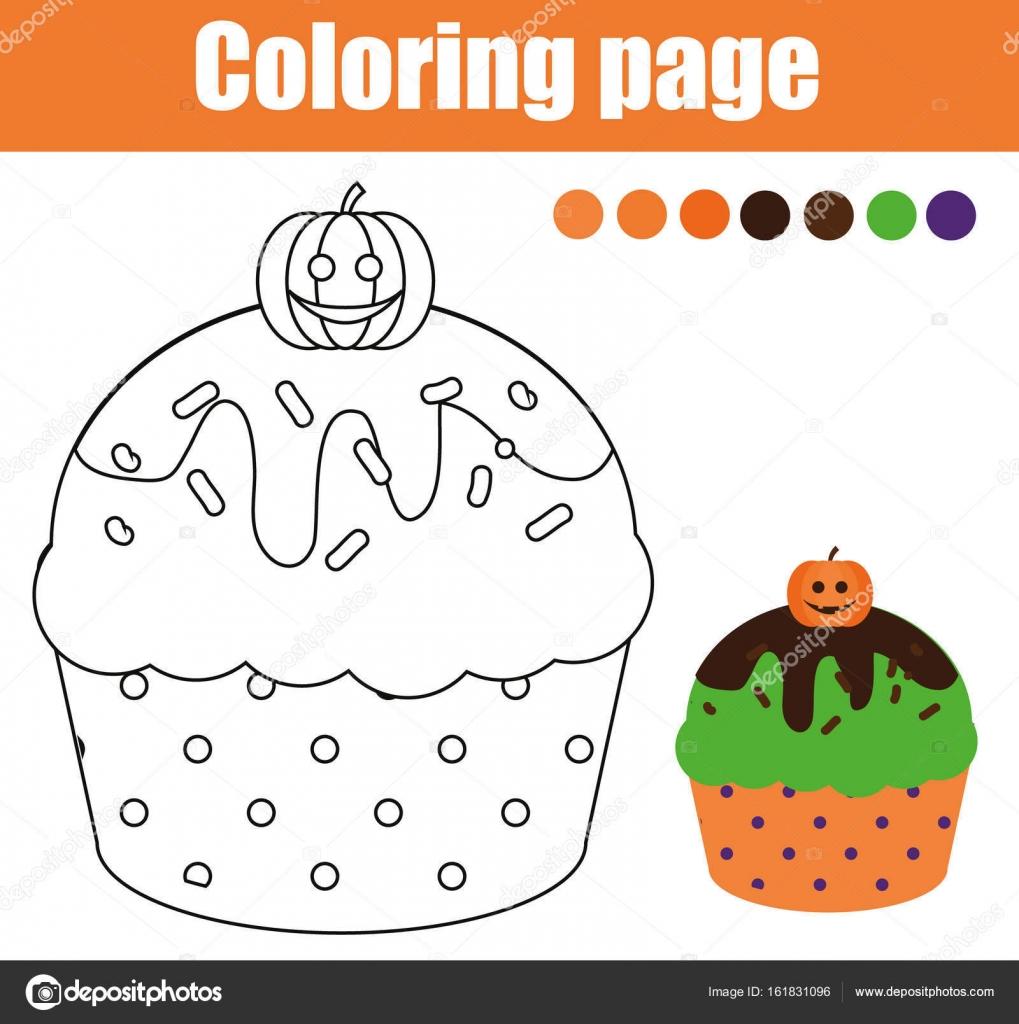 Cadılar Bayramı Cupcake Ile Boyama Sayfası çizim Kids Hareket