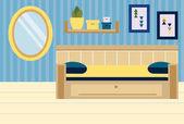 Interiér pokoje. Byt v modré a žluté barvě. Design ložnice s pohovkou, police, zrcadlo