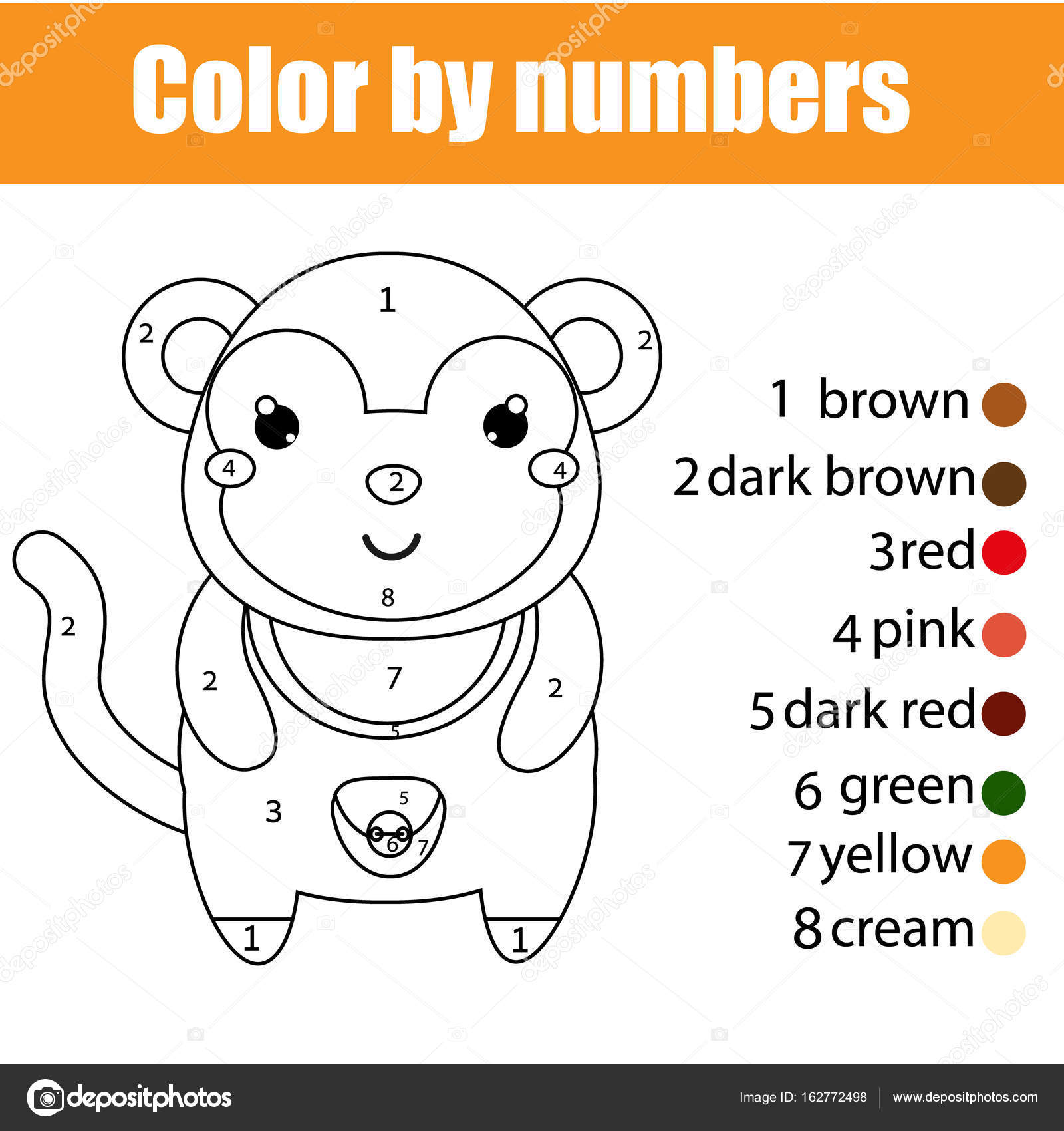 Coloring Page With Monkey Color By Numbers Educational Children